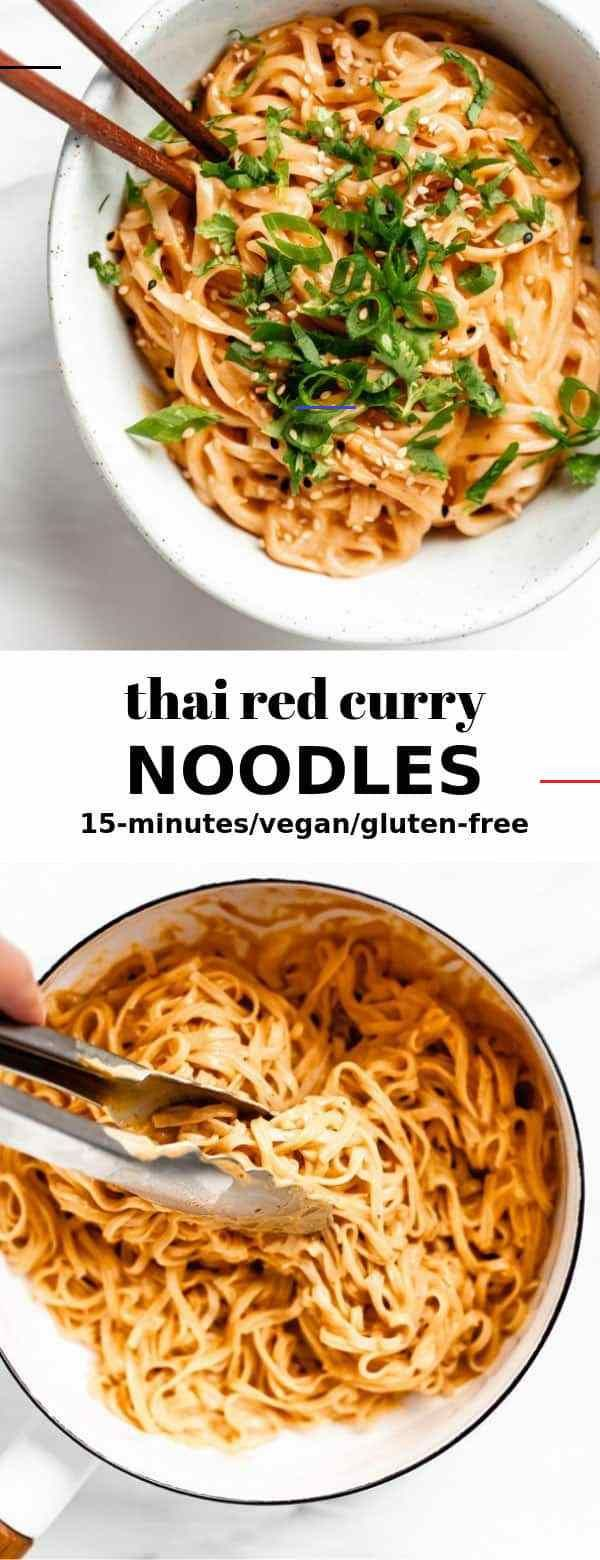 Thai Red Curry Noodles This easy tofu bibimbap is healthy and bursting with flavour! You'll love this Korean inspired recipe! #bibimbap #tofu #veganrecipe<br> Quick and easy Thai Red Curry Noodles that take 15 minutes to make!