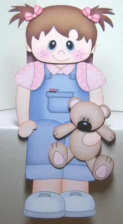 Card Gallery - 3D On the Shelf Card Kit - Little Toddler Girl Fern's Teddy