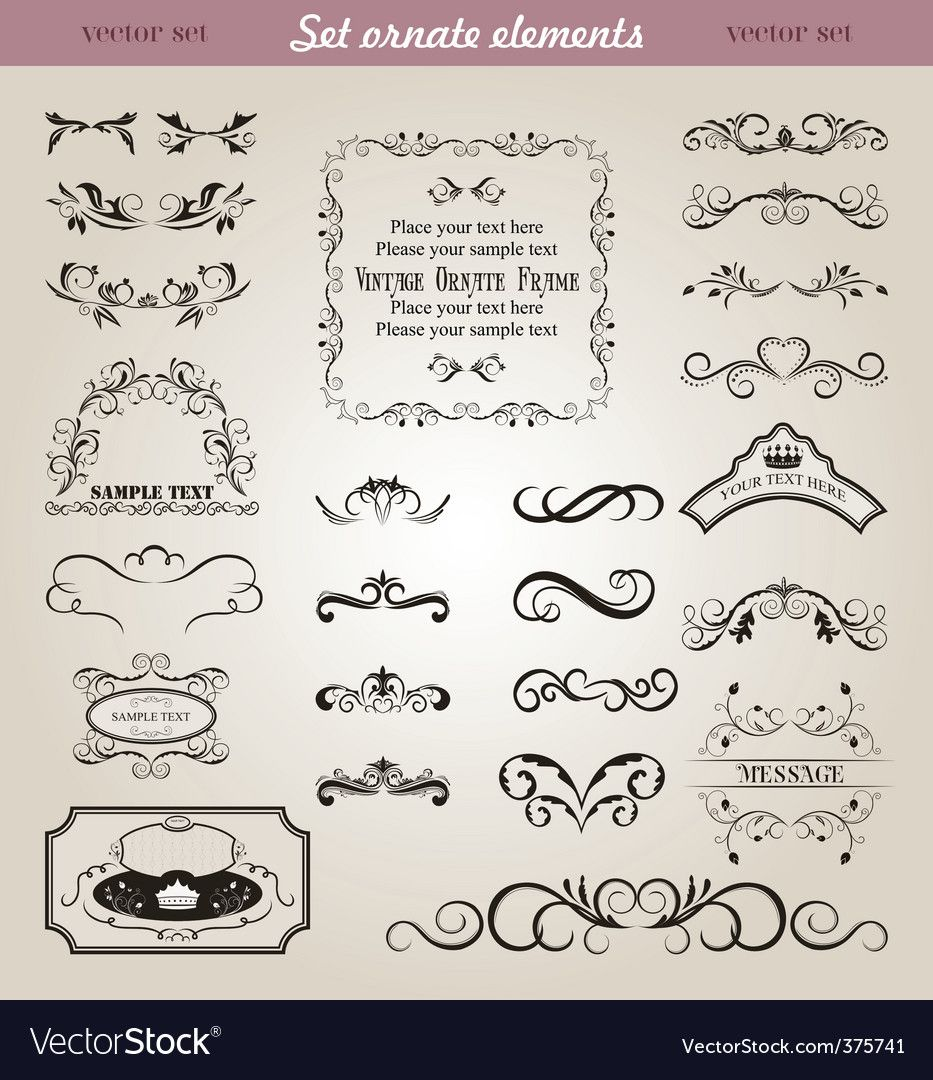 Set Floral Ornate Design Elements Vector Image On Vectorstock Frame Template Free Vector Graphics Vector Free