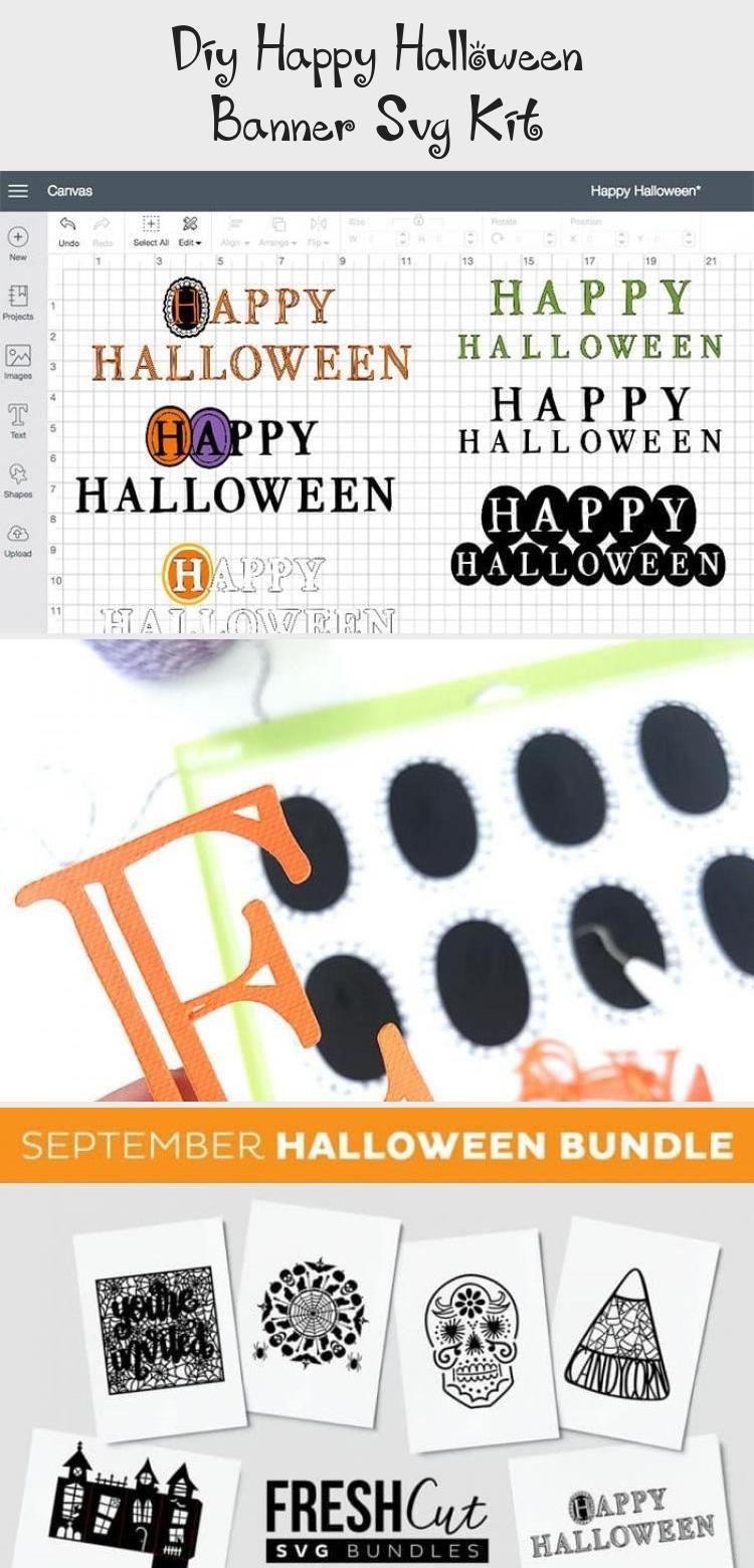 DIY Happy Halloween Banner SVG Kit - 100 Directions #Paperbanner #bannerFacebook #bannerLetters #bannerLayout #Websitebanner #happyhalloweenschriftzug