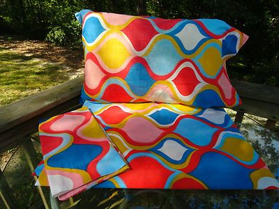 VTG 1970s Retro Psychedelic Cannon Monticello Twin Flat Sheet Pillow Cases MOD