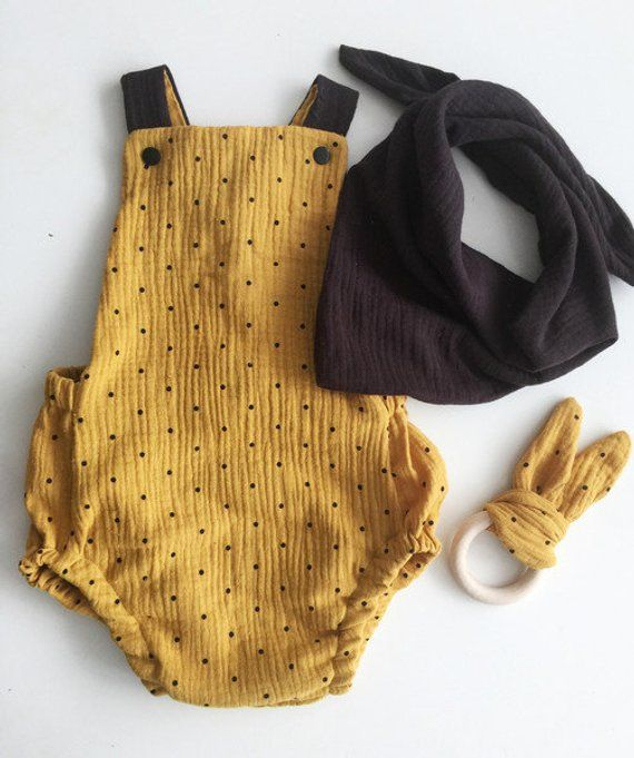 Baby baby romper baby strampler baby clothes baby clothes baby clothes Romper from muslin romper yellow black #makeclothes