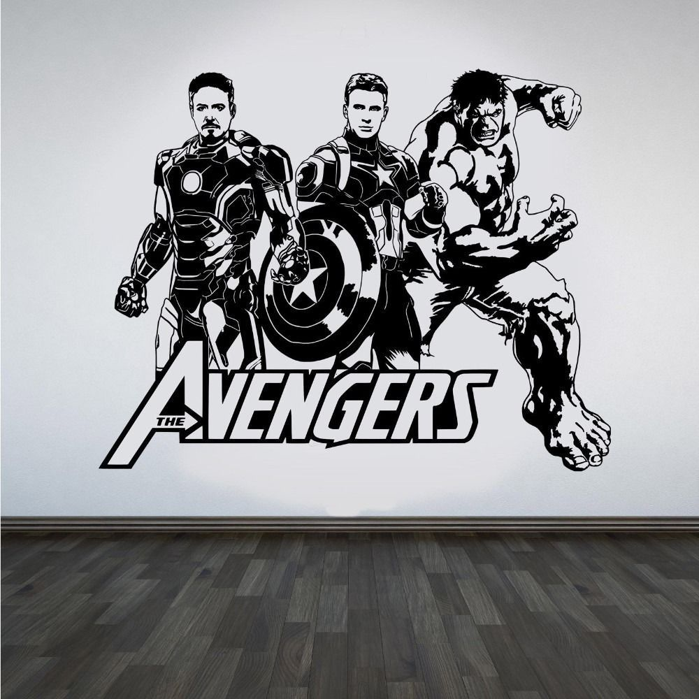 Best Avengers Hulk Captain America Iron Man Wall Sticker 400 x 300