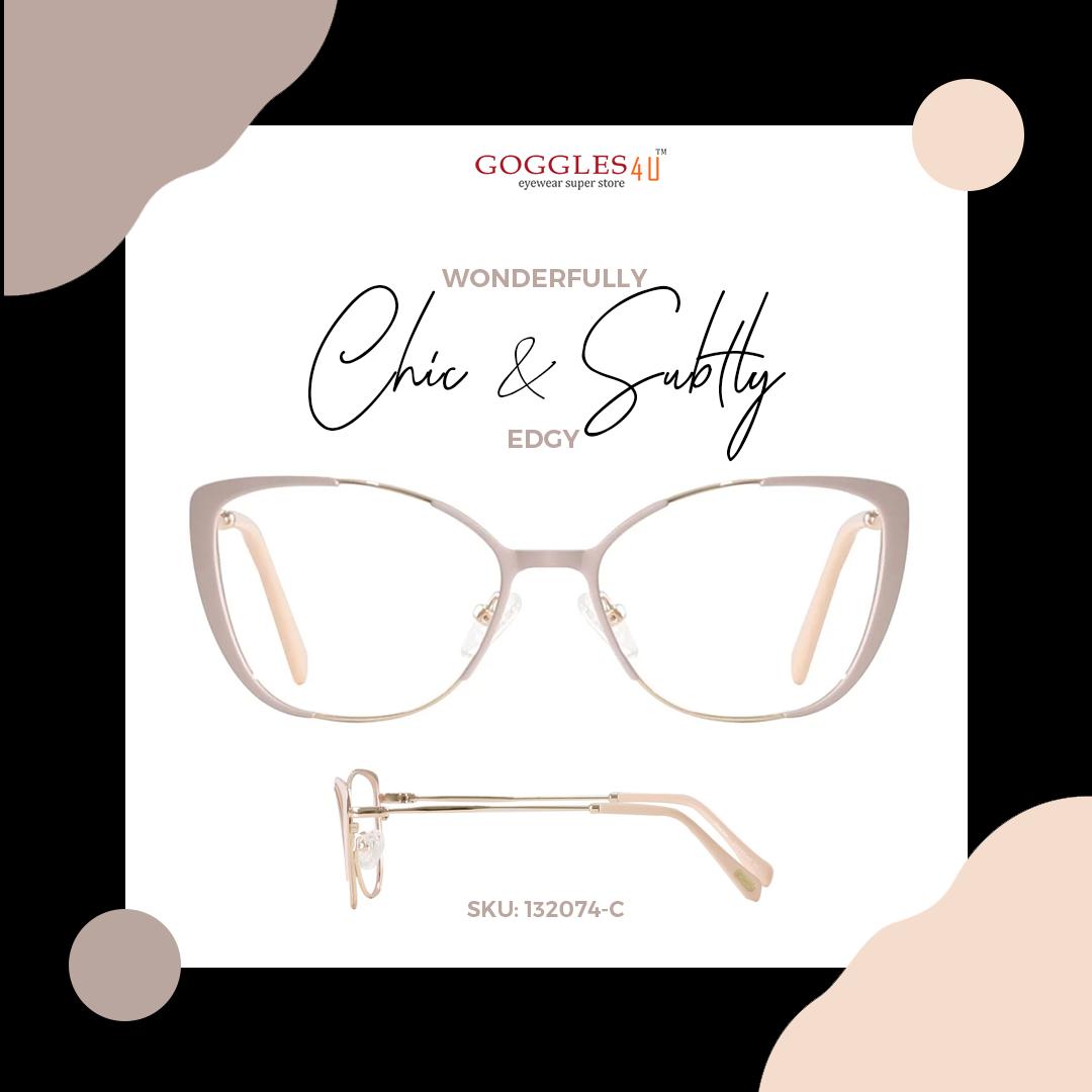 Soft tones and edgy cut! Shop now at Goggles4u.com #Cateyeglasses #WomenGlasses #WomenFashion #Fashion #Style #Looks #Trendy #Chic #Classy #GirlFashion #Stylish #Bold #Shopping #OnlineShopping