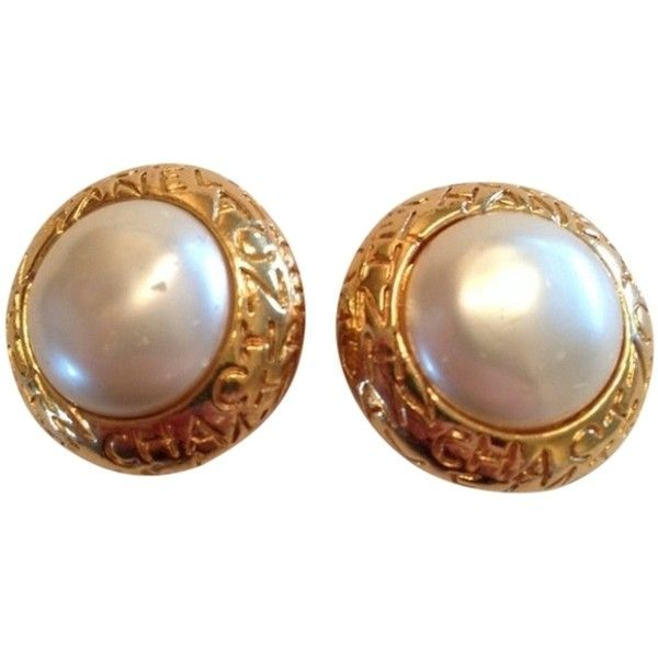 Pre Owned Vintage Chanel Pearl Clip On Earrings 308 Liked Polyvore Featuring Jewelry Accessories Gold