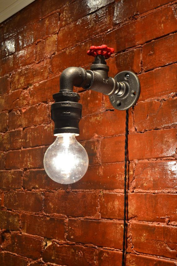 Photo of Industrial water faucet sconce light / steel pipe wall light / spigot farmhouse sconce