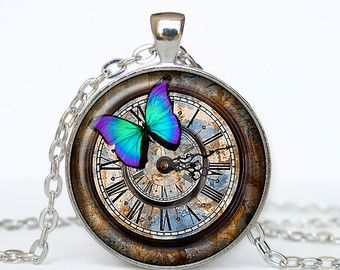 Clock pendant clock necklace clock jewelry steampunk watch clock pendant clock necklace clock jewelry steampunk watch pendant steampunk watch necklace steampunk jewelry glass art pendant mozeypictures Gallery