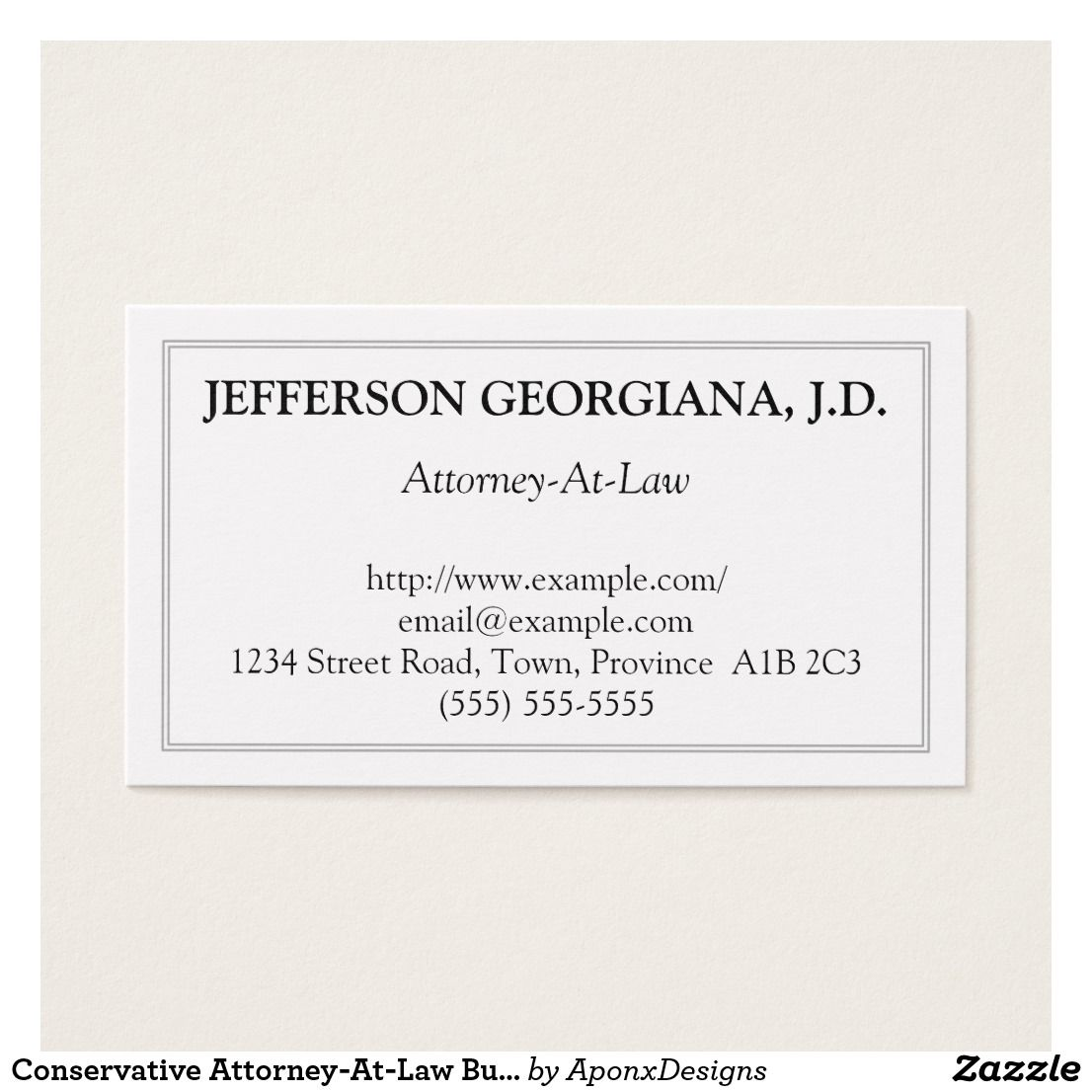 Conservative Attorney-At-Law Business Card | Customizable Business ...