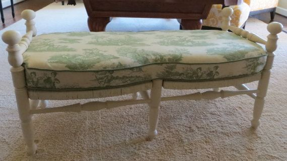 Rusk Bench With Toile Cushion