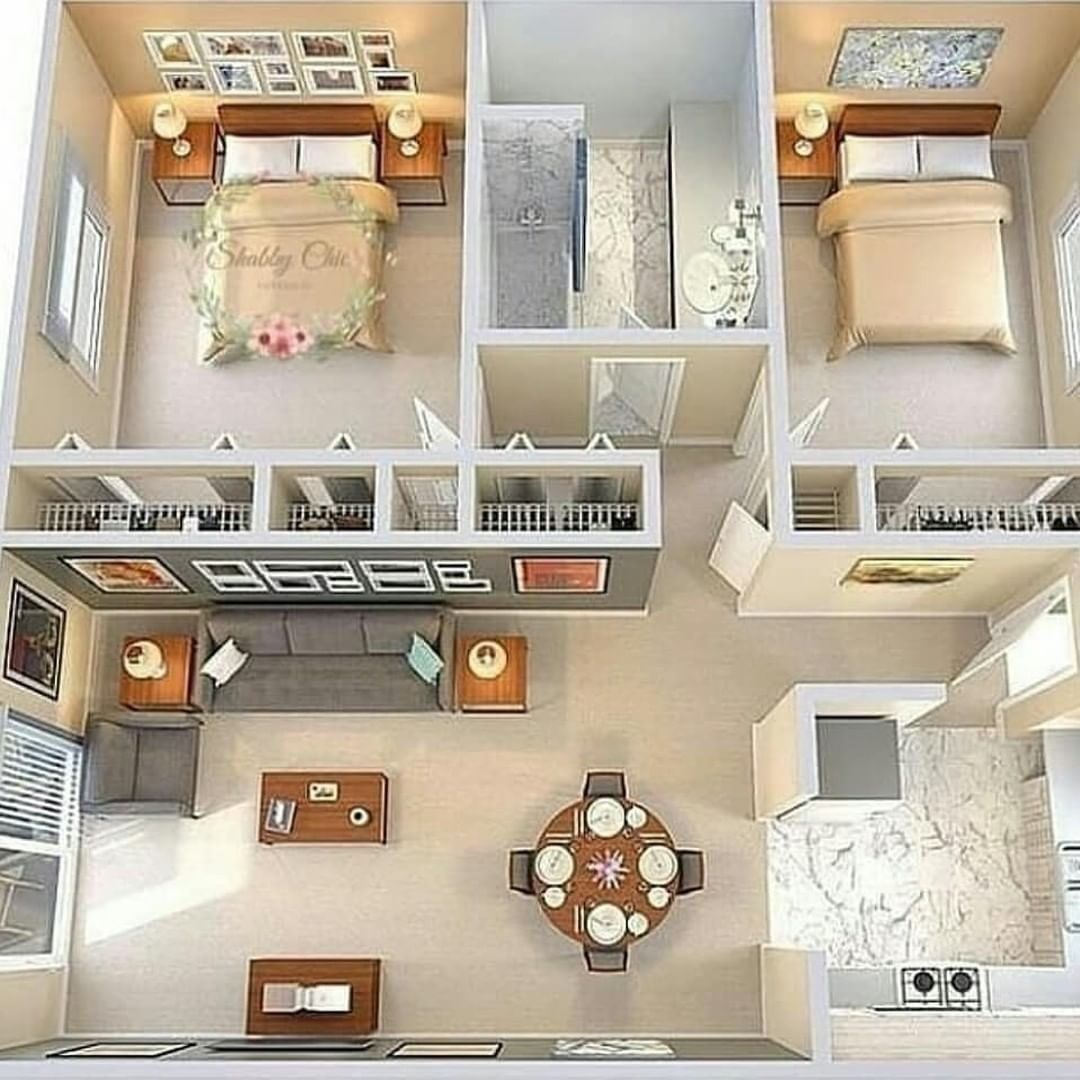Your Love Chanbaek In 2020 2 Bedroom House Design Small House Design Small House Plans