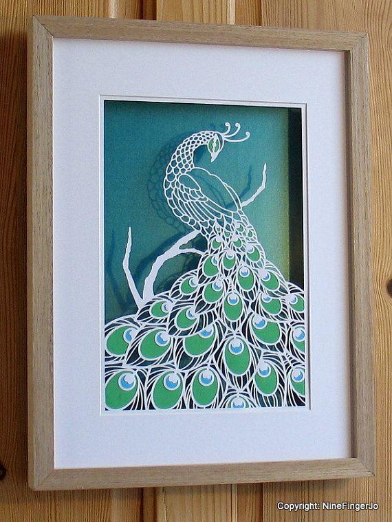 Wall Decoration By Paper Cutting : Peacock papercutting art papercut wall gold