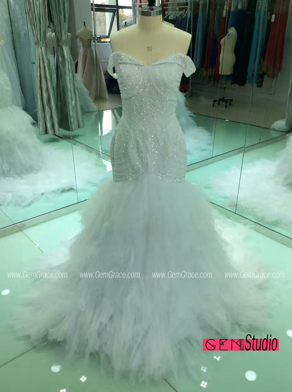 Best Off Shoulder Mermaid Wedding Dress with Beading. Custom with ...