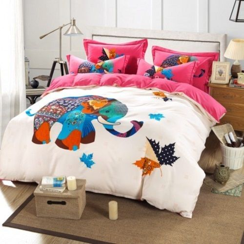 white with hot pink elephant king queen u0026 twin size duvet cover bedding set - Queen Size Duvet Cover