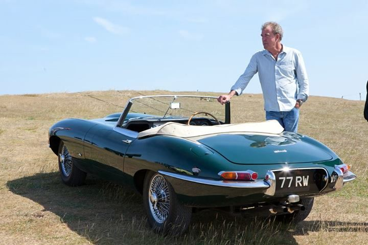 Jeremy Clarkson and an E-Type Jaguar.