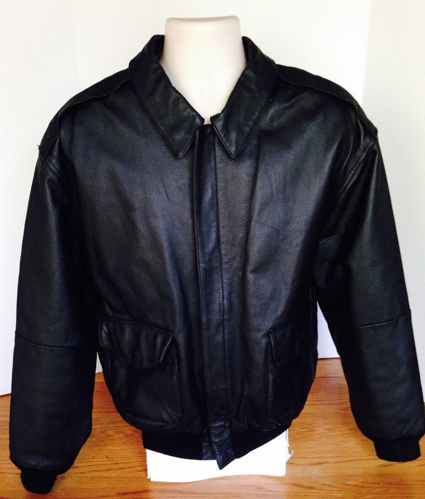 Airborne Black Leather Flight Bomber Aviator Jacket Coat Size Xl Military Pilot Jackets Mens Jackets Coats Jackets [ 1000 x 852 Pixel ]