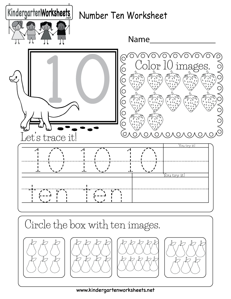 This Is A Fun Number 10 Worksheet Children Can Trace The Number And