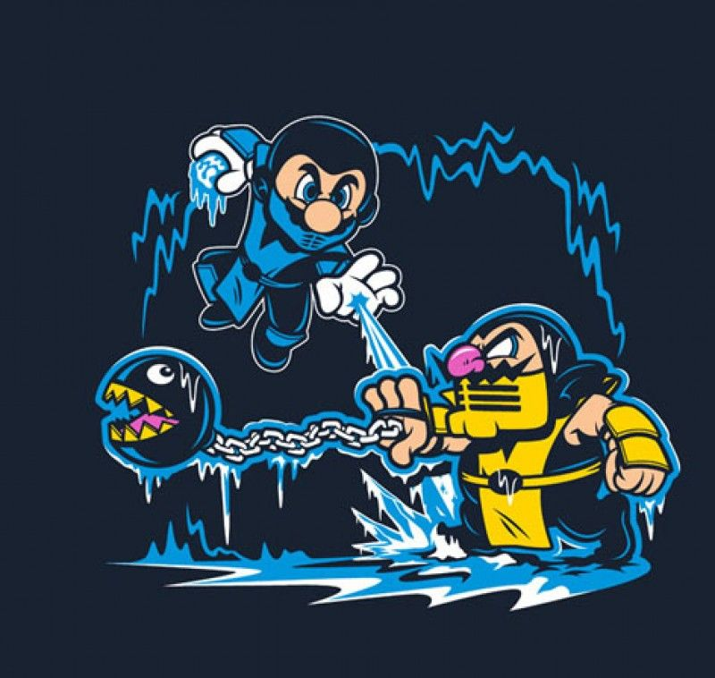 Mortal Kombat Mario Brothers Retro Gaming Mashup inspired Kids T-Shirt