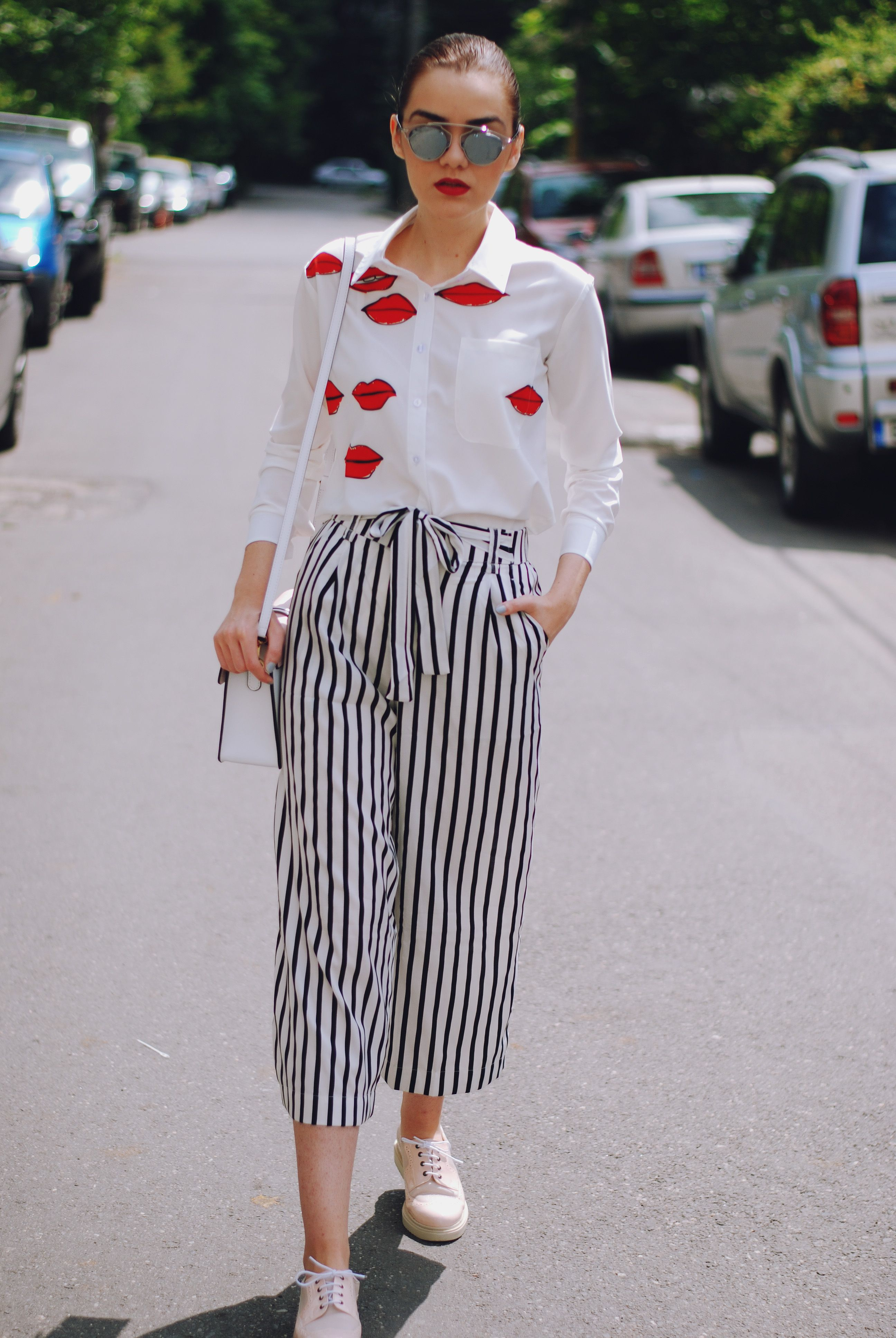 the flattering striped culottes  street styles street