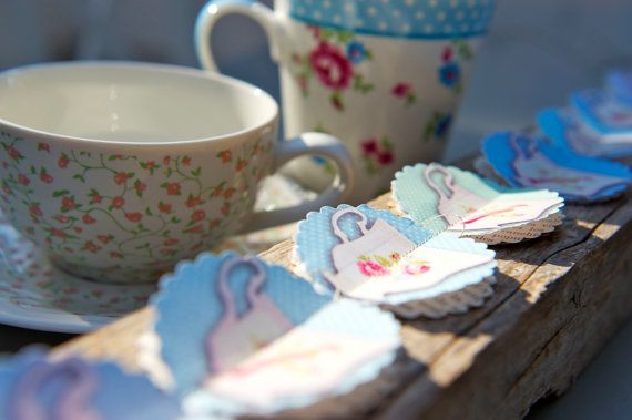 NEW Paper garland TEACUPS for wedding party birthday by LaMiaCasa, $10.00