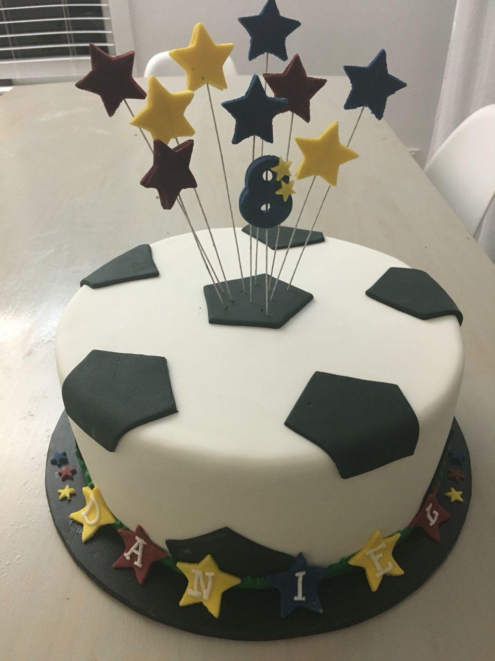 Simple Boys Soccer Football Cake In Fondant