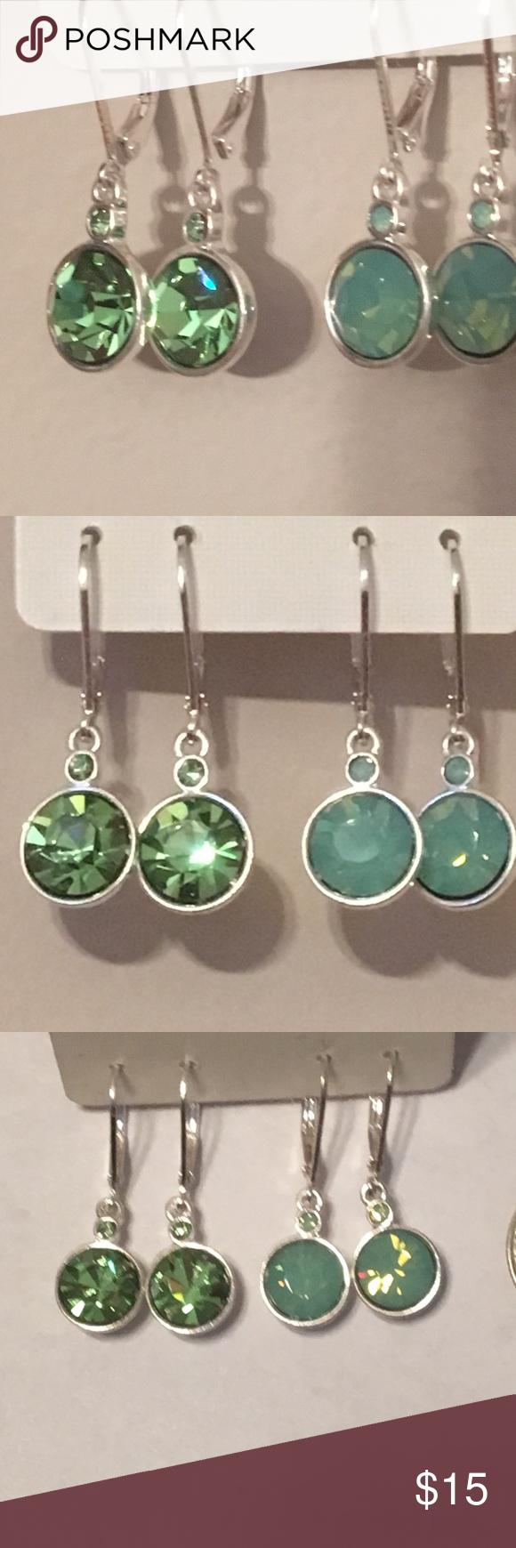 2 Pairs of SWAROVSKI filled earrings 2 beautiful green toned ...