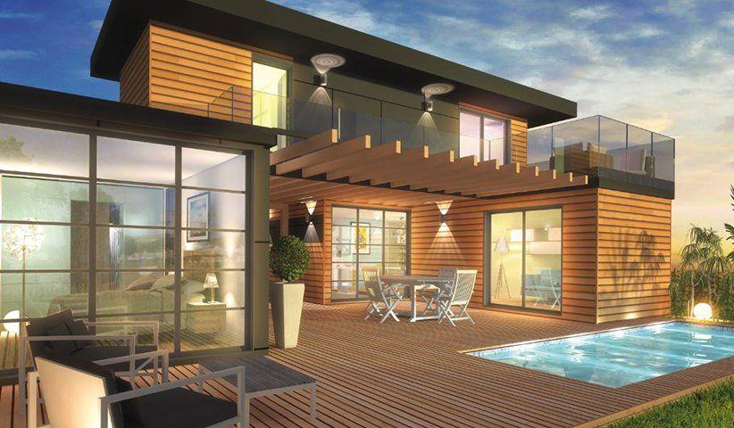 Cette Maison Etage Bois Contemporaine De 80 M Est Composee De 3 Chambres D Environ 11 M D Une Salle D Eau Plan Maison Bois Maison Ossature Bois Maison Bois