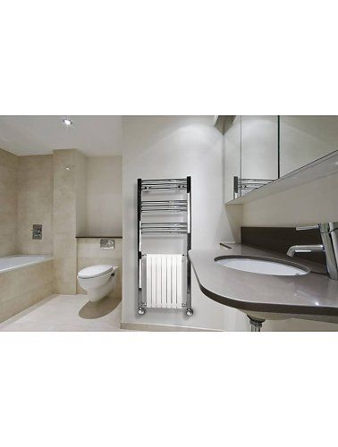 Moderne design handdoekradiator wandmontage met wit ledenelement om ...