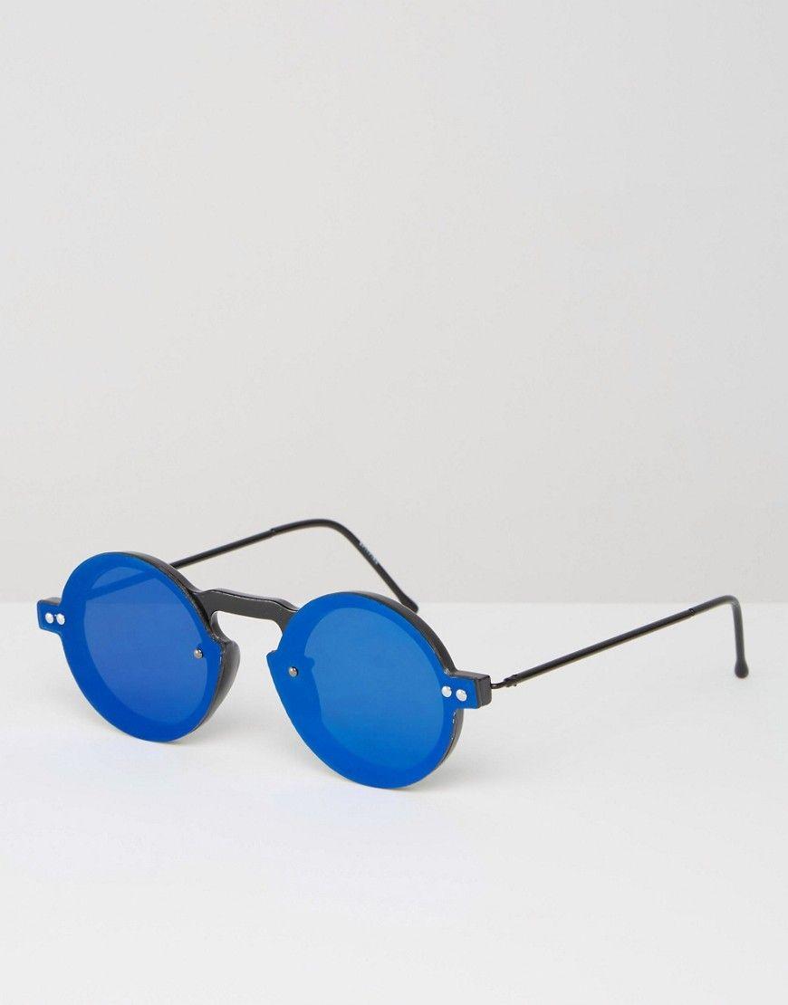 Top Spitfire - Lunettes de soleil rondes à verre plats - Bleu  BJ37