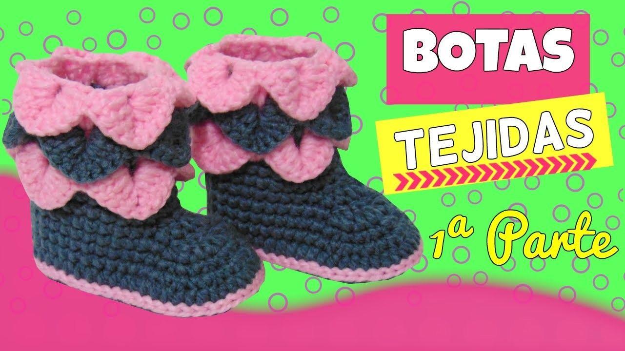 Botas tejidas a crochet con punto cocodrilo   Crochet   Pinterest ...