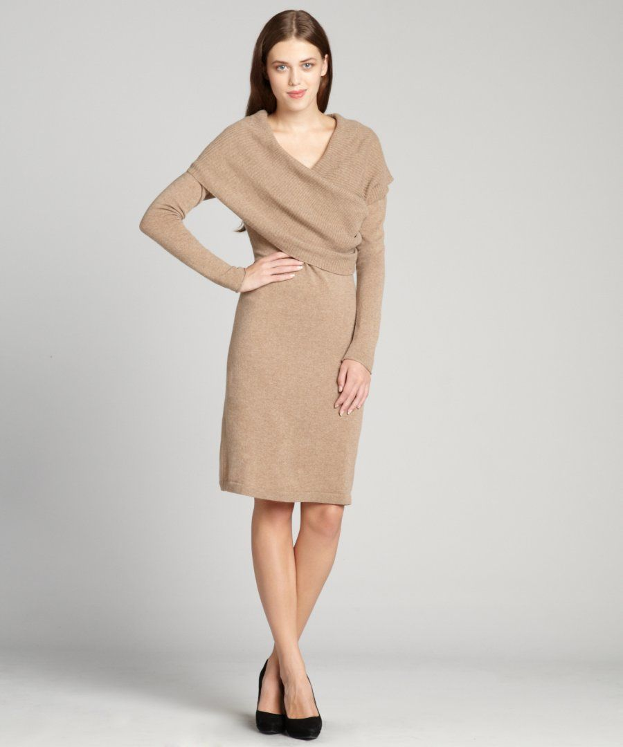 Amazing Cashmere Sweater Dress : Cashmere Surplice Foldover Cowl ...