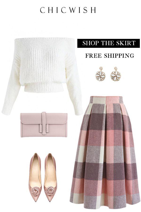 Free Shipping & Easy Return.Greatest Embrace Check Wool-Blend Midi Skirt. #skirt # woolskirt #winteroutfit #partyskirt #cuteskit #elegant