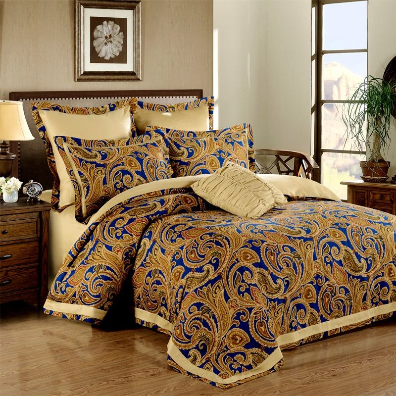 Royal Blue And Gold Elizabethan Themed European Style