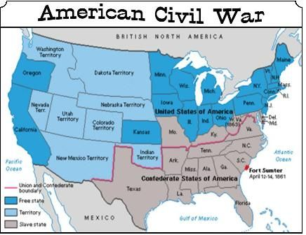 american civil war color the states war between the states