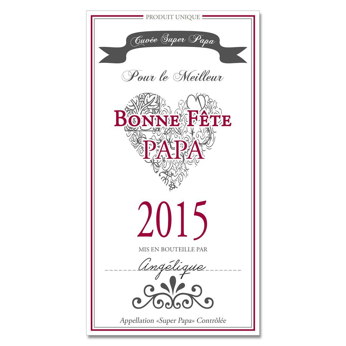 Lot de 3 tiquettes de vin personnalis es f te des p res cuisine et service de table par for Bouteille de vin personnalisee montreal