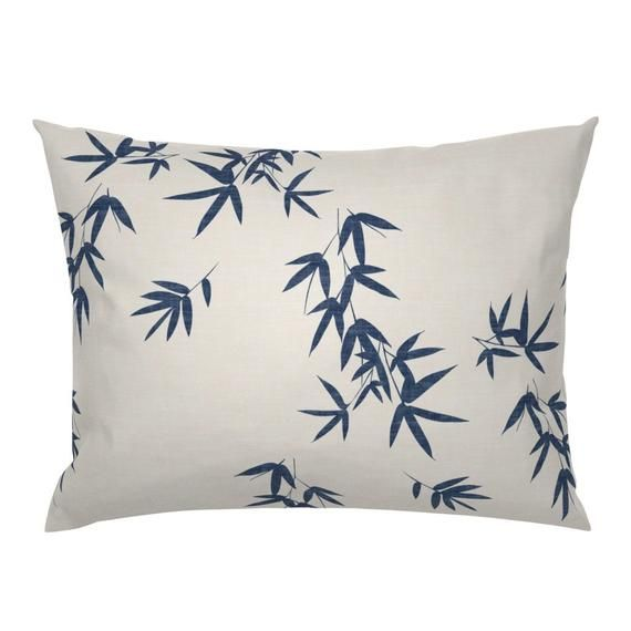 Botanical Pillow Sham - Blue Bamboo Leaves by kimsa - Minimalist  Japanese Home Decor Cotton Sateen Pillow Sham Bedding by Spoonflower