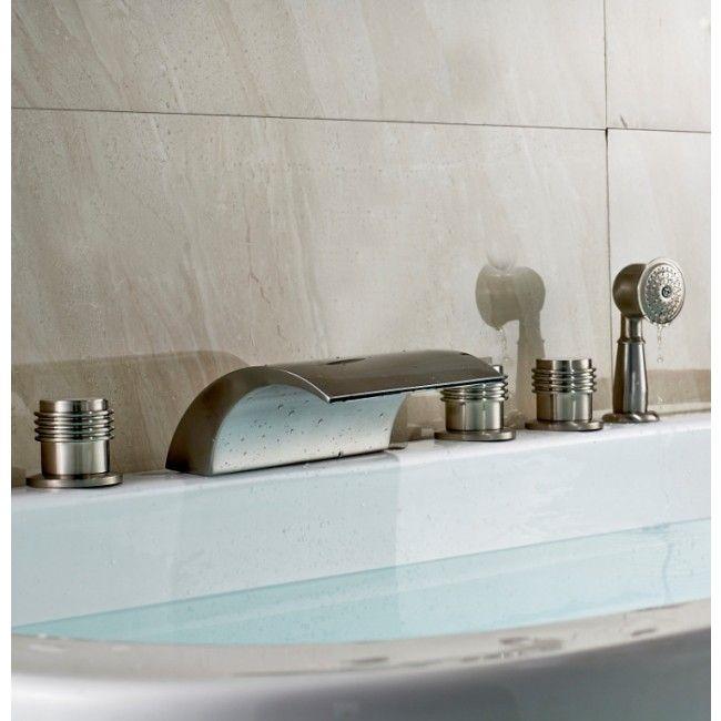 Juno Monora Triple Handle Waterfall Roman Bath Tub Faucet With