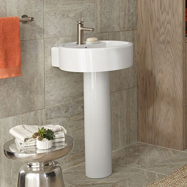 Delightful DXV Seagram 20 Inch Round Pedestal Bathroom Sink Room Scene  Canvas White