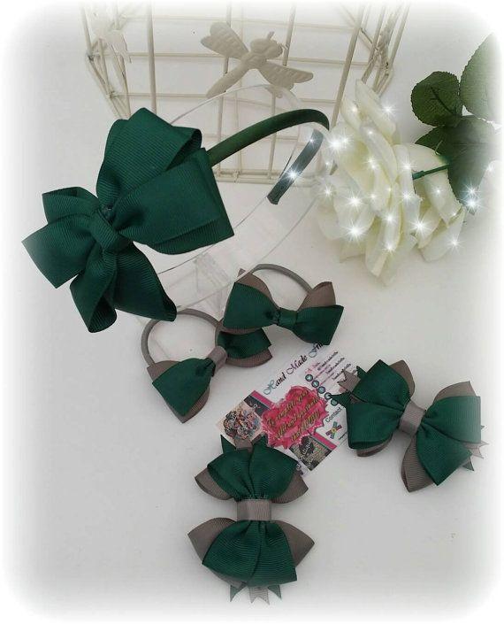 Dark Green headband Set Green School Uniform 7 by handmadefrillsuk