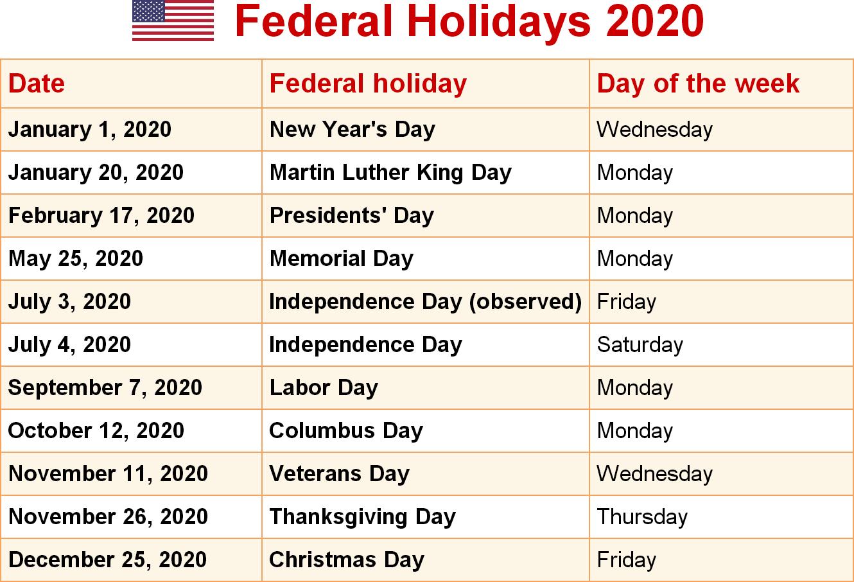 USA Federal Holidays Calendar 2020 in 2020 Federal