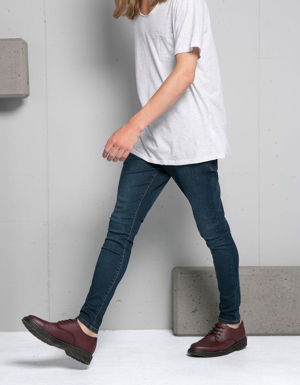 Jeans Super Skinny Basico Super Skinny Bershka Espana Moda Botas Hombre Moda Ropa Hombre Estilos De Ropa Para Hombre