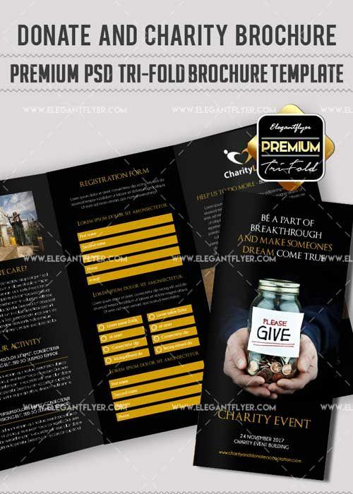 Download Charity Event V12 Premium Tri Fold Psd Brochure Template