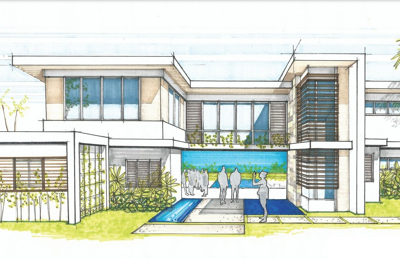 Tropical Modern House Sketch - Design Development - Runaway Bay ...