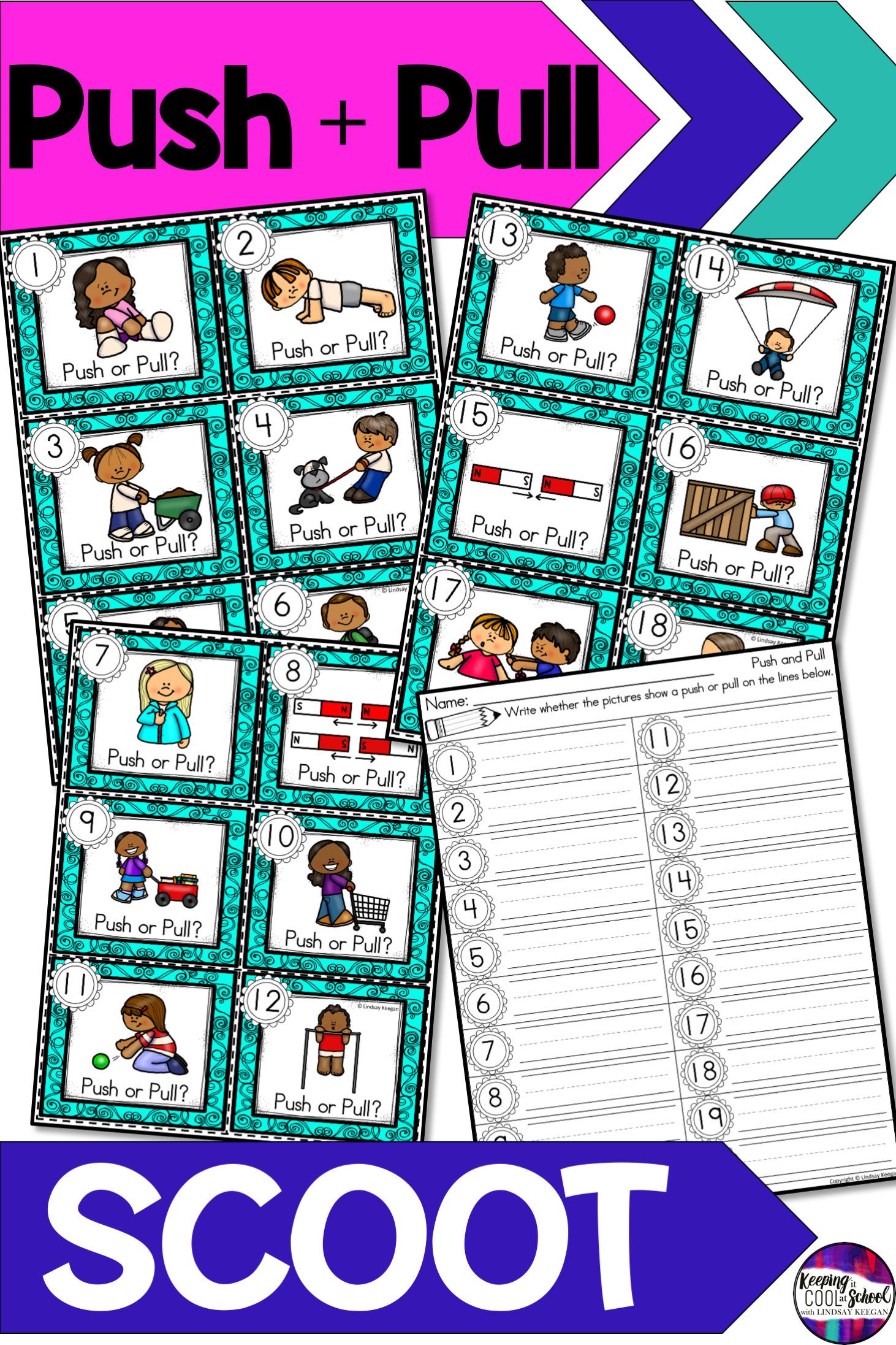 Push And Pull Scoot Game Science Activities For Kids Kindergarten Classroom Games Pushes And Pulls [ 2193 x 1462 Pixel ]
