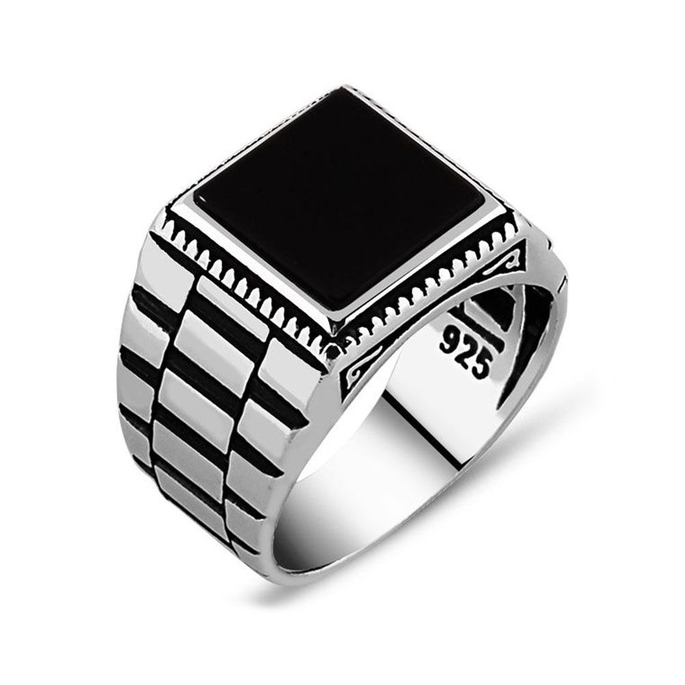Black Square Onyx Silver Men\'s Ring | Silver jewelry, Ring and ...