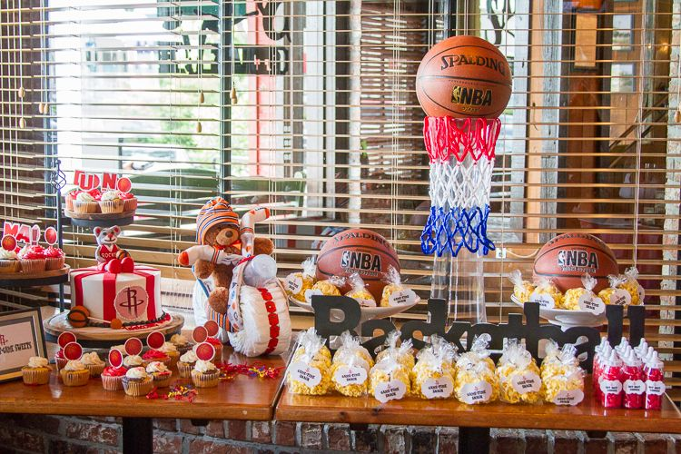 Houston Rockets Theme Baby Shower Dessert Table Ceneterpiece Basketballgoal Rocket Basketball Baby Shower Baby Shower Cake Sayings Trendy Baby Shower Ideas