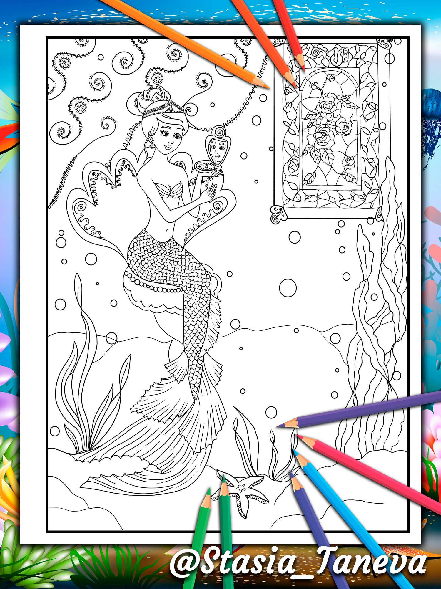 Mermaid On The Background Of A Beautiful Stained Glass Window With Roses Mermaid Coloring Book 18 Mermaid Coloring Book Unique Coloring Pages Mermaid Coloring [ 2000 x 1500 Pixel ]