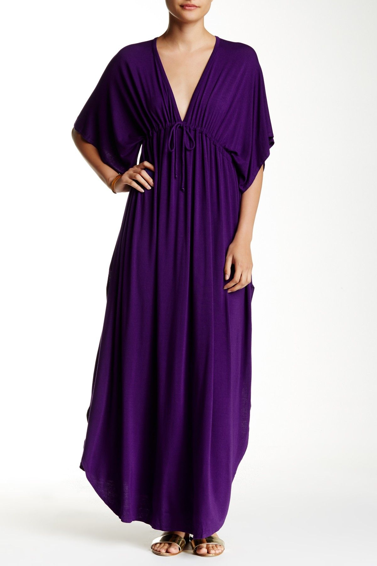 Dolman Sleeve Maxi Dress with Plunge