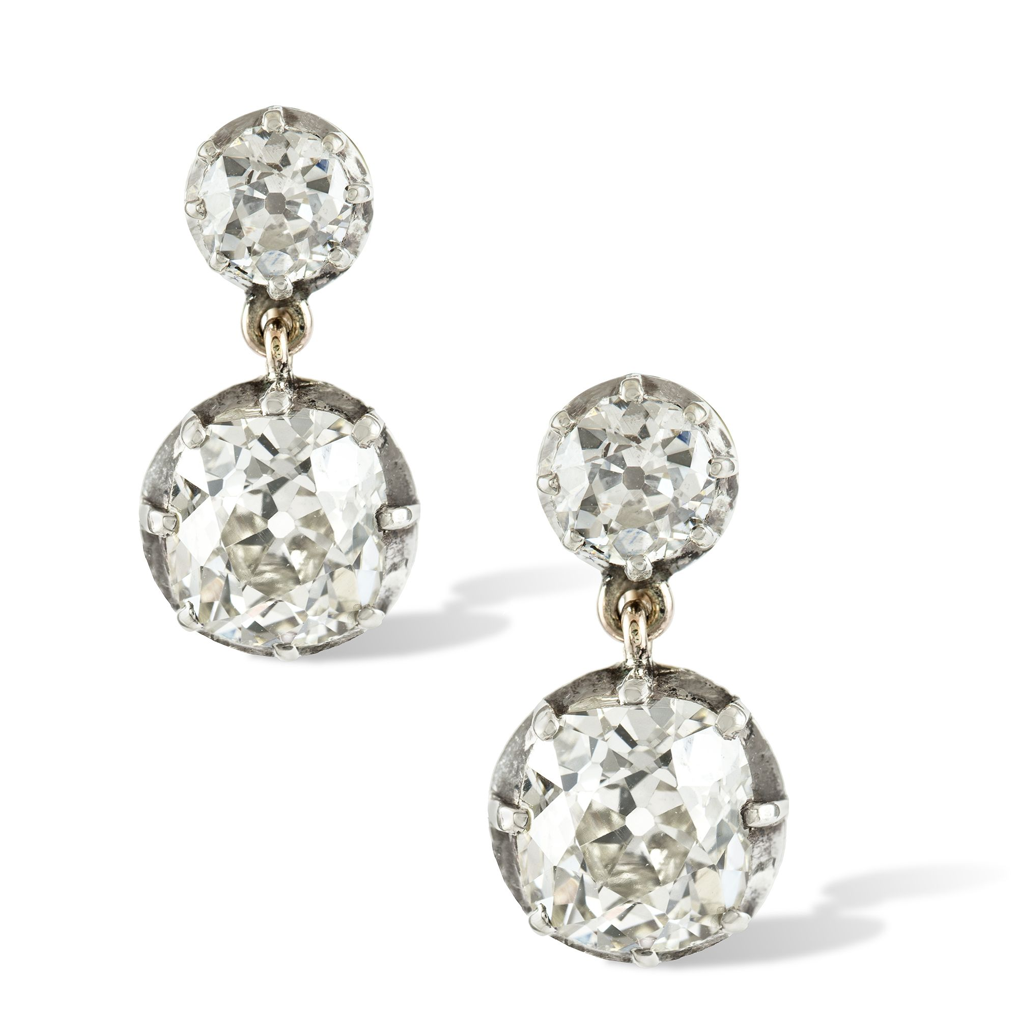 20fd303bfec3a A pair of late-Victorian diamond drop earrings, the two cushion ...
