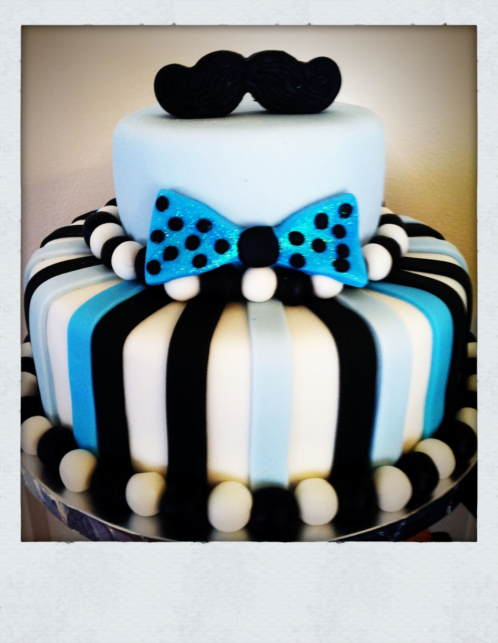 Charming Mustaches And Bow Ties Baby Shower Cake