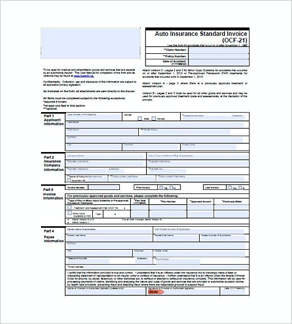 Auto Insurance Standard Invoice , Standard Invoice Template - auto invoice template